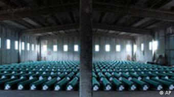 Coffins of 335 Srebrenica victims - the worst massacre of civilians since World War II