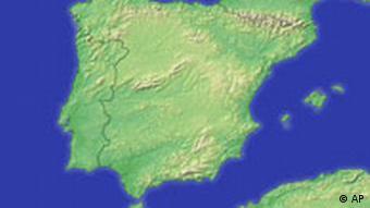 Portugal und Spanien topografische Reliefkarte, Karte