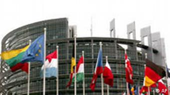 Flags of the 27 European nations fly in front of the European parliament