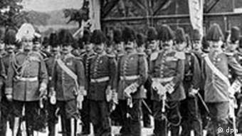 Das erste Seebataillon, das zur Niederschlagung des Boxeraufstands gerufen wurde. In der ersten Reihe 3.v.l. Generalmajor von Höpfner