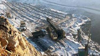 Aerial shot of a Russian coal mine