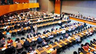 General view of the conference room during the opening session of the WTO General Council at the World Trade Organization, WTO, headquarters in Geneva, Switzerland, Tuesday, July 27, 2004