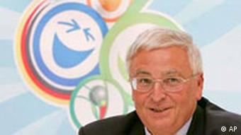 Theo Zwanziger, with the World Cup 2006 logo in the background