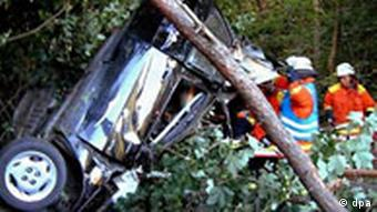 This smashed car was forced off the road by a speeder who overtook the driver, frightening her off the road in 2003