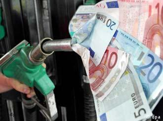 A petrol pump leaking euro notes