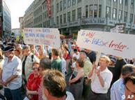 Демонстрация против реформ рынка труда в Лейпциге 9 августа 2004 года