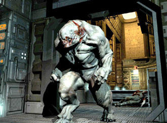 Ein Monster aus dem Computerspiel Doom 3