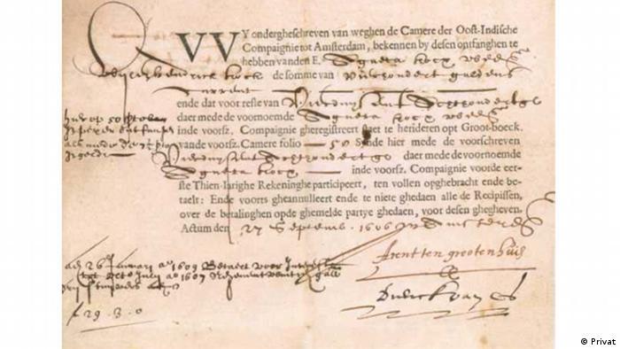 Erste Aktie Niederländische Vereinigte Oost-Indische Compaignie (VOC) Anteilschein