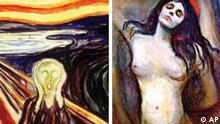 NEWS USE ONLY, FOR NEWS RELATED TO SUBJECT Madonna painting by Edvard Munch, photo on black The Scream painting by Edvard Munch, photo