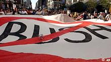 Demonstrators display a No Bush banner during a protest through the streets of Manhattan organized by the group United for Peace and Justice in New York, Sunday, Aug. 29, 2004. Tens of thousands of Bush administration opponents denounced the war in Iraq and demanded the United States withdraw its forces. (AP Photo/Jennifer Szymaszek)