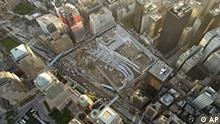 An aerial view shows the footprint of the World Trade Center site, center, in lower Manhattan, Sept 10, 2004. Tomorrow marks the third anniversary of the terrorist attacks in the United States. (AP Photo/Stuart Ramson)
