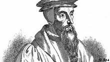 Zeitgenössisches Porträt des Reformers Johannes Calvin. Er wurde am 10.7.1509 im französischen Noyon geboren und starb am 27.5.1564 in Genf. ### John Calvin ## Contemporary portrait of the Protestant reformer John Calvin. He was born in Noyon on 10 July 1509 and died in Geneva on 27 May 1564. #