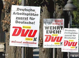 El DVU, de extrema derecha, logró su cometido en Brandeburgo.