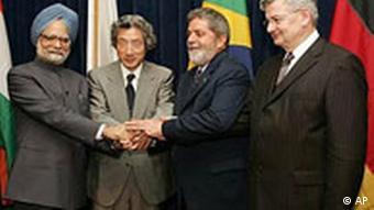 Singh, Koizumi, Lula da Silva und Fischer, UN-Sicherheitsrat