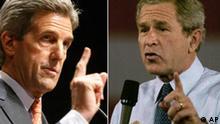 Combo John F. Kerry und George W. Bush Rethorik