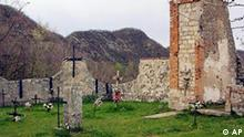 A view of the Casaglia cemetery Monday, April 15, 2002, near Marzabotto, Italy, where some of the hundreds of civilians victims of a Nazi massacre were buried in 1944. German president Johannes Rau was scheduled to visit the village of Marzabotto Wednesday, April 17, 2002 to lay a wreath and give a speech in front of a village church in the area where the Nazis shot some of their victims. Marzabotto is one of a group of mountain villages southwest of Bologna, central Italy, where Nazi SS troops, allegedly pursuing resistance fighters, killed more than 700 people between Sept. 28 and Oct. 1 of 1944. (AP Photo/Paolo Ferrari)