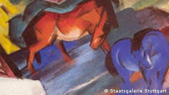 Blaue und Rote Pferde