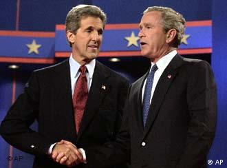 Kerry, left, cut a more convincing figure in Europe than Bush