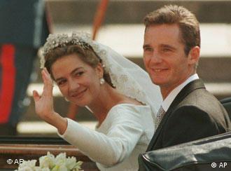 La infanta Elena de España e Iñaki Urdangarín el día de su boda (04.10.1997).