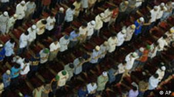 Muslims pray on the night before the holy fasting month of Ramadan begins