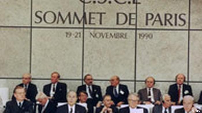 Abertura da Conferência sobre a Segurança e a Cooperação na Europa (CSCE) em Paris, em 19 de novembro de 1990.