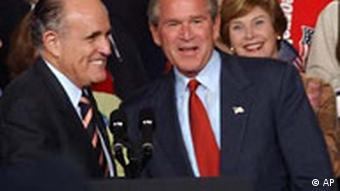 Rudy Giuliani with George W. Bush at a rally