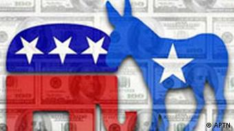 graphic showing republican elephant and democrat donkey with dollar bills