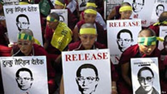 Demonstration für die Freilassung von Tulku Tenzin Delek Rinpoche in Indien (dpa)