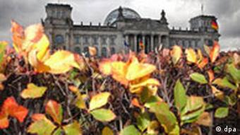 A hedge in front of the Reichstag in Berlin