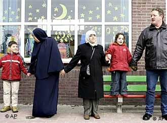 Dutch schoolchildren of various religions holding hands
