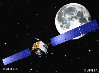 An artist's rendering of a satellite circling around the moon