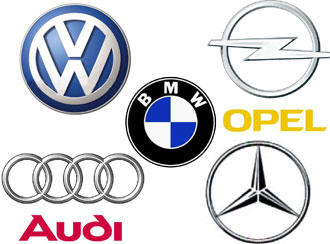A selection of German auto company logos