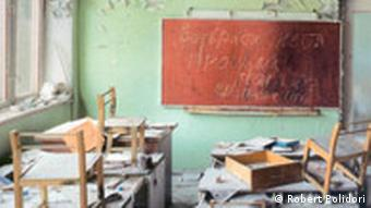 An abandoned schoolroom in Chernobyl