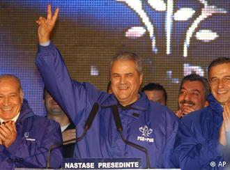 Apparent victor: Adrian Nastase celebrates amid rumors of fraud