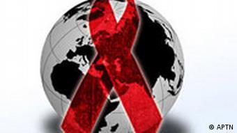 Red AIDS ribbon over globe, on white texture, partial graphic