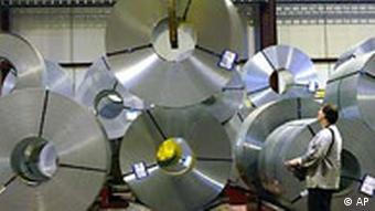 Steel rolls in a ThyssenKrupp facoriry in Germany