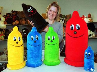 Seamstress Anja Wald with some of her cuddly condoms