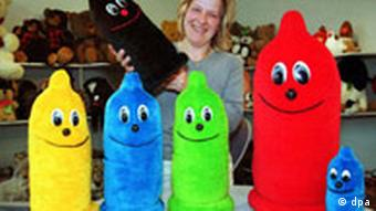 Furry cushions in condom form. The cushions, which come in various sizes and colours. are an educational tool designed to promote safer sex in schools