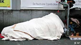 Ein Obdachloser in der Frankfurter Innenstadt