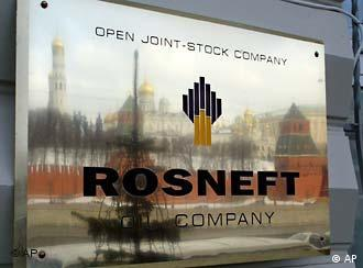 Rosneft sign reflecting the skyline of Moscow