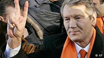 Der siegessichere Oppositionsführer Viktor Juschtschenko, Wiederwahl in der Ukraine