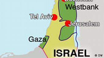 Karte Israel Westbank Gaza Tel Aviv Jerussalem Dschenin