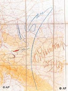 Карта к секретному протоколу с подписями Сталина и Риббентропа