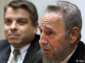 Back on the calling list: Castro (right) and Foreign Minister Roque