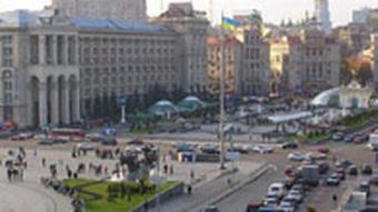 Platz der Unabhängigkeit (Majdan Nesaleshnosti) in der ukrainischen Hauptstadt Kiew