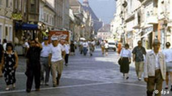 A pedestrian street in Brasov, Romania