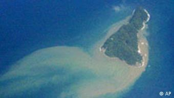 An aerial view of an uninhabited island
