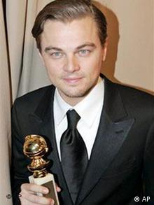 Leonardo DiCaprio arrives at the Miramax party following the 62nd Annual Golden Globe Awards on Sunday, Jan. 16, 2005, in Beverly Hills, Calif. DiCaprio holds his award for best actor in a drama for his work in The Aviator. (AP Photo/Mark J. Terrill)