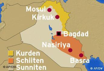 Irakkarte Bevölkerungsgruppen Kurden und Schiiten Karte