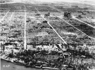 A photograph showing the total destruction of Hiroshima, Japan, on April 1 1946, after the atomic bomb detonated above the city eight months earlier